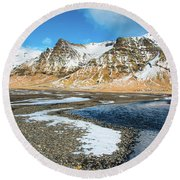Round Beach Towel featuring the photograph Landscape Sudurland South Iceland by Matthias Hauser