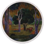 Landscape With A Pig And A Horse  Round Beach Towel