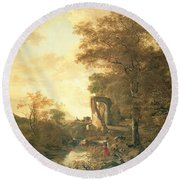 Landscape With Arched Gateway Round Beach Towel
