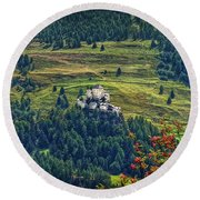 Round Beach Towel featuring the photograph Landscape With Castle by Hanny Heim