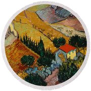 Round Beach Towel featuring the painting Landscape With House And Ploughman by Van Gogh