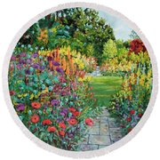 Landscape With Poppies Round Beach Towel