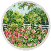 Landscape With Roses Fence Round Beach Towel