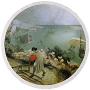Landscape With The Fall Of Icarus Round Beach Towel