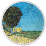 Round Beach Towel featuring the painting Lane Near Arles by Van Gogh