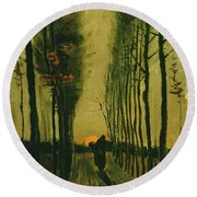 Round Beach Towel featuring the painting Lane Of Poplars At Sunset by Van Gogh