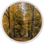 Round Beach Towel featuring the photograph Lane by Pat Purdy
