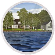 Round Beach Towel featuring the painting Langer Summer Home Lake Simcoe by Kenneth M Kirsch