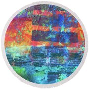 Round Beach Towel featuring the painting Language by Nancy Merkle