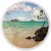 Lanikai Beach 1 - Oahu Hawaii Round Beach Towel by Brian Harig