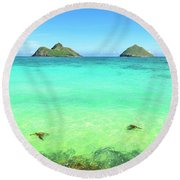 Lanikai Beach Two Sea Turtles And Two Mokes Round Beach Towel