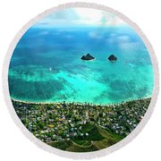 Lanikai Over View Round Beach Towel