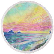 Lanikai Sunrise Round Beach Towel