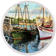 Lannon And Ardelle Gloucester Ma Round Beach Towel by Eileen Patten Oliver