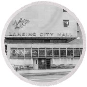 Lansing Michigan City Hall  Round Beach Towel