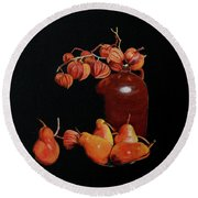 Lanterns And Pears Round Beach Towel