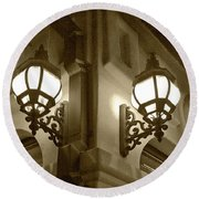 Round Beach Towel featuring the photograph Lanterns - Night In The City - In Sepia by Ben and Raisa Gertsberg