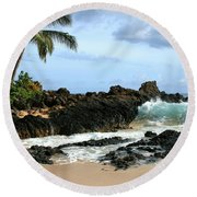 Lapiz Lazuli Stone Aloha Paako Aviaka Round Beach Towel