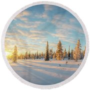 Lapland Panorama Round Beach Towel by Delphimages Photo Creations