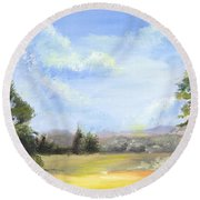 Round Beach Towel featuring the painting Lapoint Utah by Jane Autry