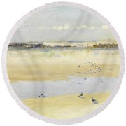 Lapwings By The Sea Round Beach Towel by William James Laidlay