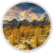 Larch Valley Golden Larches Touch Of Winter Round Beach Towel