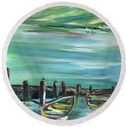 Large Acrylic Painting Round Beach Towel