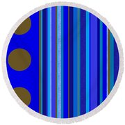 Large Blue Abstract - Panel Three Round Beach Towel