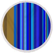 Large Blue Abstract - Panel Two Round Beach Towel