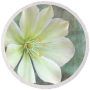 Round Beach Towel featuring the pyrography Large Flower by Lyn Randle
