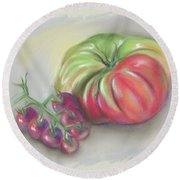 Large Heirloom Tomato With Purple Cherry Tomatoes Round Beach Towel