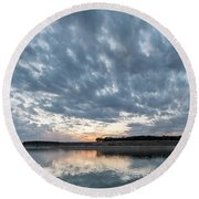 Large Panorama Of Storm Clouds Reflecting On Large Lake At Sunse Round Beach Towel