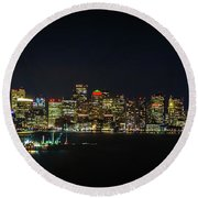 Large Panoramic Of Downtown Boston At Night Round Beach Towel