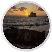Large Rock Against The Light Round Beach Towel