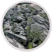 Round Beach Towel featuring the photograph Large Rock At Central Park by Sandy Moulder