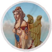 Large Sphinx Of The Vienna Belvedere Round Beach Towel