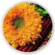 Large Sunflower On Indian Corn Round Beach Towel