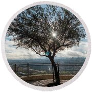 Large Tree Overlooking The City Of Jerusalem Round Beach Towel