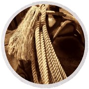 Lariat On A Saddle Round Beach Towel by American West Legend By Olivier Le Queinec
