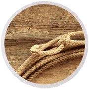 Lariat On Wood Round Beach Towel