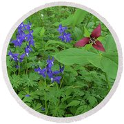 Larkspur And Red Trillium Round Beach Towel