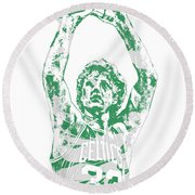 Larry Bird Boston Celtics Pixel Art 5 Round Beach Towel