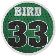 Larry Bird Boston Celtics Retro Vintage Jersey Closeup Graphic Design Round Beach Towel