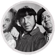 Larry, Moe And Curly Round Beach Towel