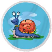 Larry The Snail Round Beach Towel