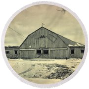 Larsen Road Barn Round Beach Towel by Joel Witmeyer