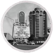 Round Beach Towel featuring the photograph Las Vegas 1994 #1 Bw by Frank Romeo
