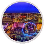 Las-vegas Aerial Golden Hour Round Beach Towel