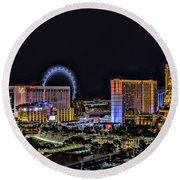 Las Vegas Night Skyline Round Beach Towel