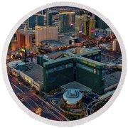 Round Beach Towel featuring the photograph Las Vegas Nv Strip Aerial by Susan Candelario